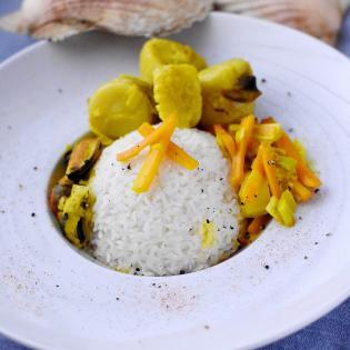 Etuvée Saint Jacques petits légumes riz fleury michon marmiton recette