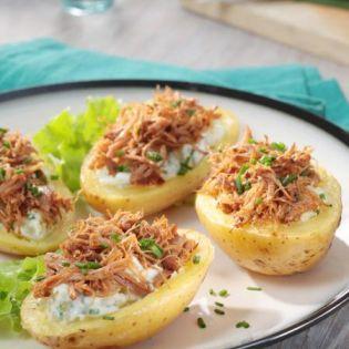 Pomme de terre farcies aux Effilochés de Porc