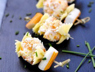 Brochette mer surimi boulette chèvre frais surimi râpé carottes farfalle fleury michon marmiton recette