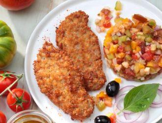Escalope côté végetal et tartare de tomates multicolores