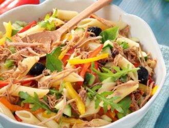 Salade de pâtes légumes et Effilochés de Porc