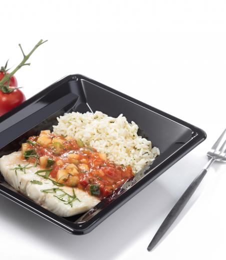 filet de lieu concassée de tomate et courgettes cuisinees riz coriandre pauvre en sel