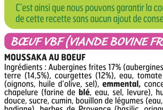 liste ingrédients étiquetage moussaka plats cuisinés nutrition conseils manger mieux fleury michon
