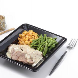 Un plateau repas hospitalier avec un plat fleury michon