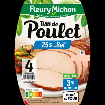 Rôti de poulet cuit -25% de sel