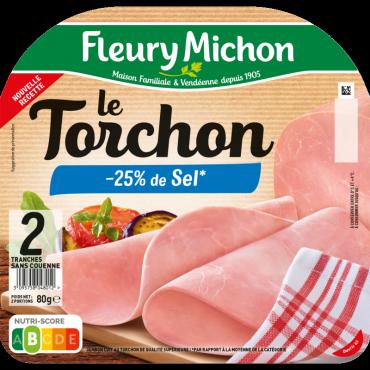 Jambon Le Torchon tranches fines -25% de sel