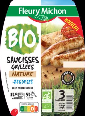 Saucisses grillées Nature -25% de sel BIO