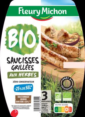 Saucisses grillées Herbes -25% de sel BIO