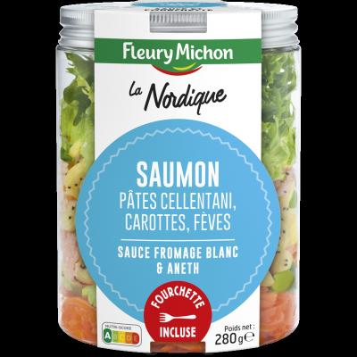 SALAD JAR - La Nordique - Saumon, pâtes cellentani, carottes, fèves, sauce au fromage blanc et aneth