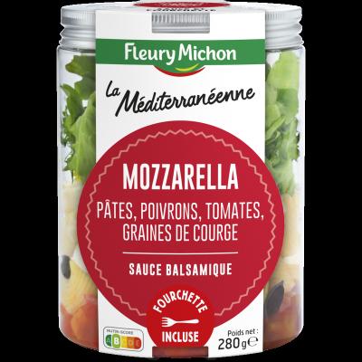 SALAD'JAR - La Méditéranéenne - Mozzarella, pâtes, poivrons, tomates, graines de courge, sauce balsamique