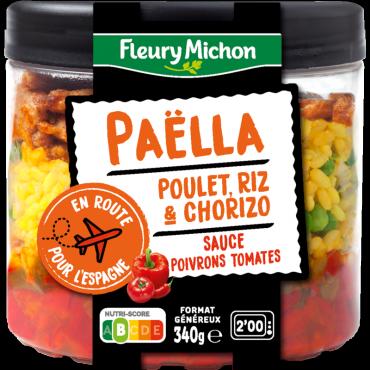 Paëlla poulet, riz & chorizo, sauce poivrons tomates