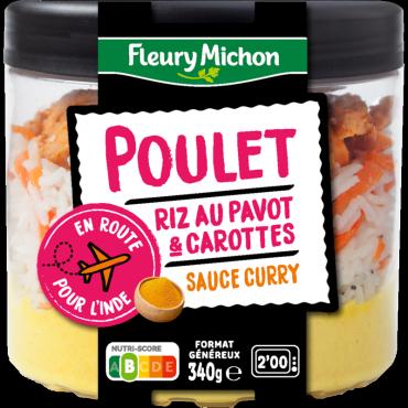 Poulet, riz au pavot & carottes sauce curry jaune