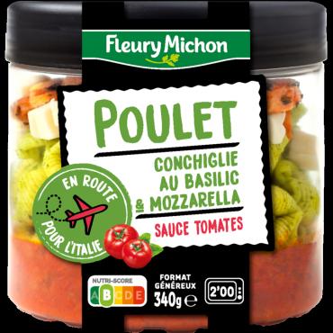Poulet, conchiglie au basilic, mozzarella, sauce tomates