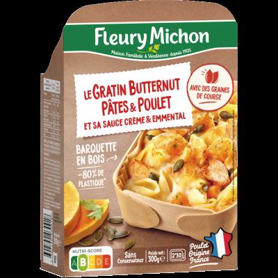 Le Gratin Butternut Pâtes & Poulet et sa sauce crème & emmental