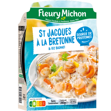 Saint-Jacques à la bretonne et riz basmati