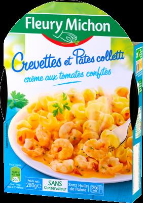 Crevettes et pâtes colletti crème aux tomates confites