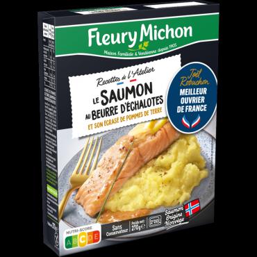 le saumon au beurre d 39 chalotes cras e de pommes de terre fleury michon. Black Bedroom Furniture Sets. Home Design Ideas