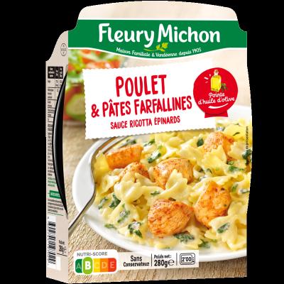 Poulet & farfallines, sauce ricotta épinards
