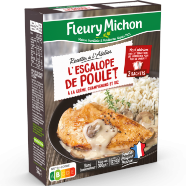 Escalope de poulet crème champignons & riz