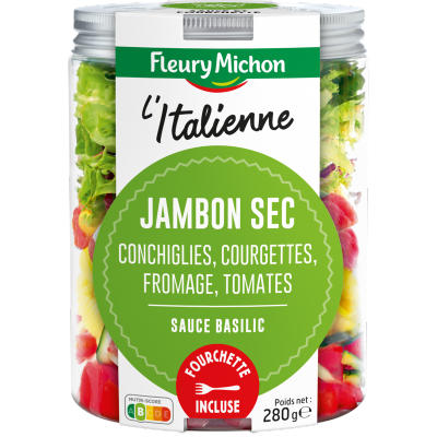 SALAD JAR - L'Italienne - Jambon sec, conchiglies, courgettes, fromages italiens, tomates, sauce basilic