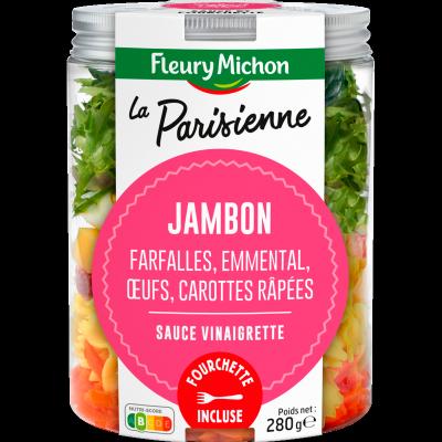 SALAD JAR - La Parisienne - Jambon, farfalles, emmental, oeufs, carottes râpées, sauce vinaigrette