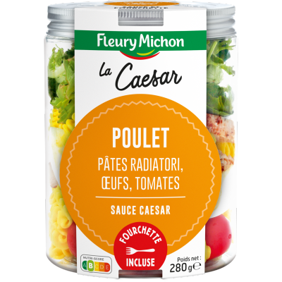 SALAD JAR - La Caesar - Poulet, pâtes radiatoris, oeufs, tomates, sauce Caesar