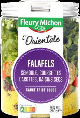 SALAD JAR - L'Orientale - Falafels, semoule, courgettes, carottes, raisins secs, sauce épice douce