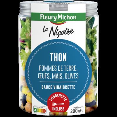 SALAD JAR - La Nicoise - Thon, pommes de terre, oeufs, maïs, olives, sauce vinaigrette