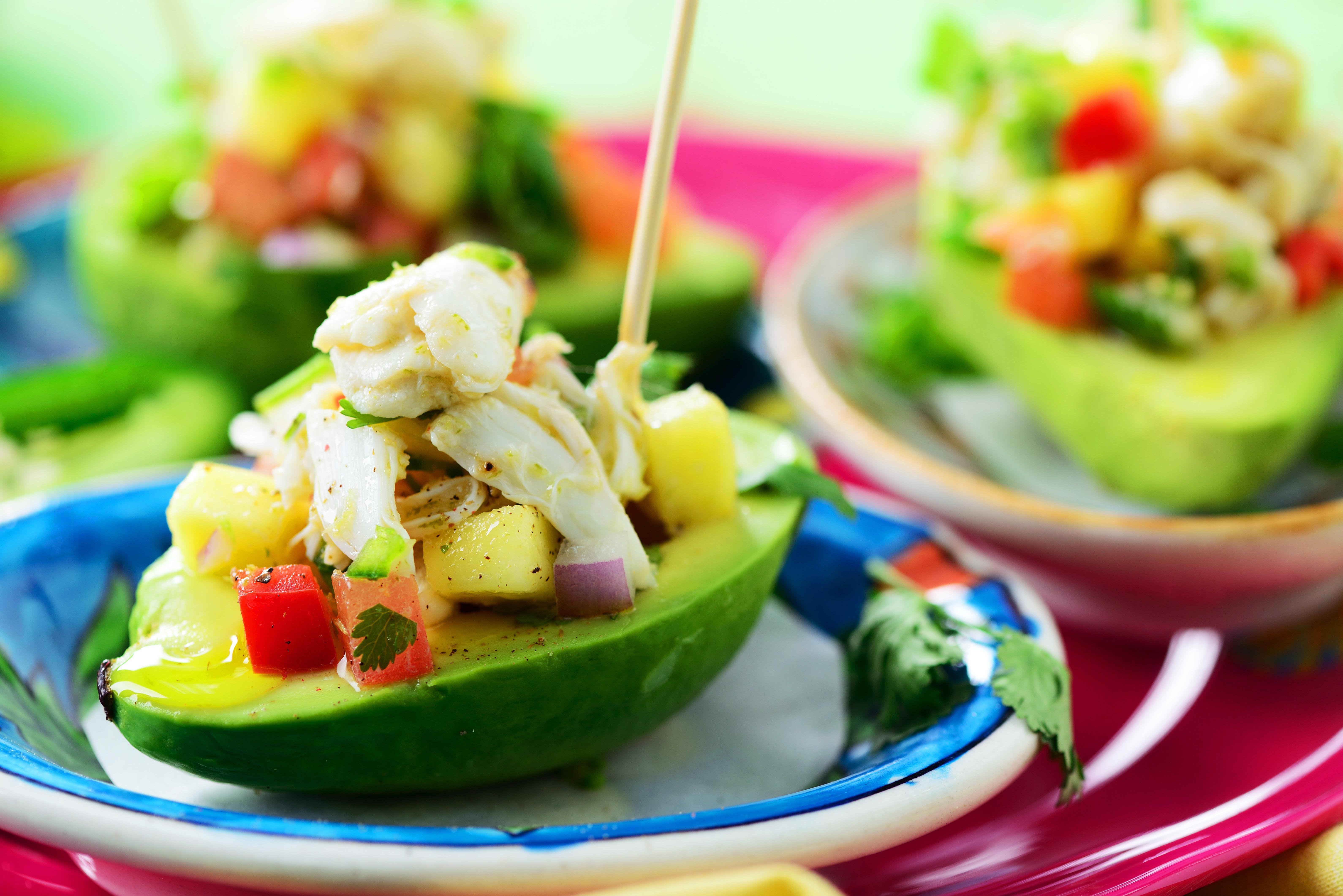 Avocat farci surimi mangue oignon rouge fleury michon marmiton recette