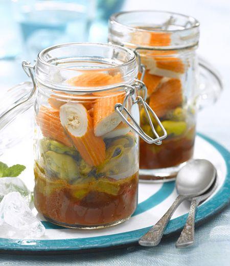 Verrine de surimi et poivrons aux moules caramélisées