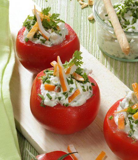 Tomates farcies au surimi râpé