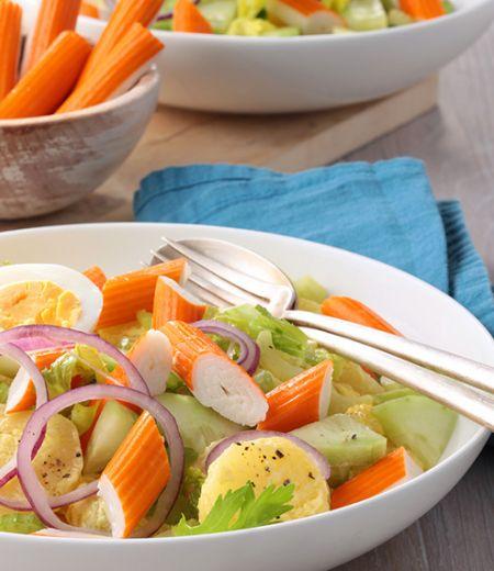 Salade de pommes de terre aux bâtonnets de surimi