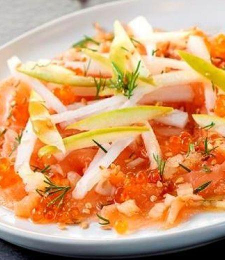 Carpaccio de saumon et salade de radis