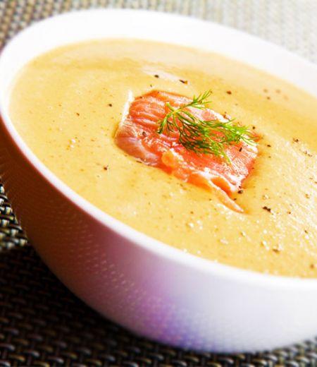 Crème de lentilles au saumon fume