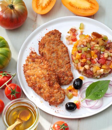 Escalope végétale et tartare de tomates multicolores