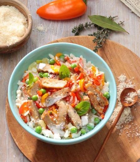 Risotto aux petits légumes et émincés végétaux aux herbes de Provence