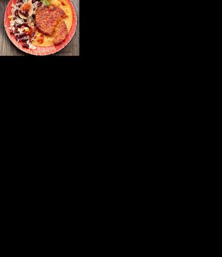 Pavés au maïs et poivron, riz aux oignons et haricots rouges à la Mexicaine