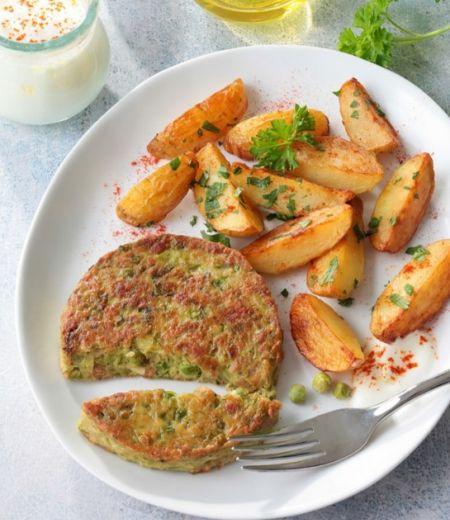 Pavés « Côté Végétal »  aux haricots verts et petits pois, pommes de terre sautées, sauce au yaourt et à l'ail