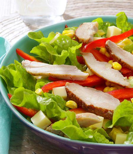Salade Duo poulet/emmental, poivrons et maïs