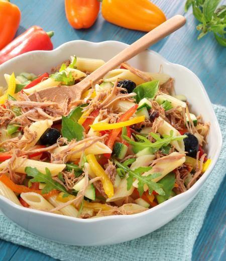 Salade de pâtes, légumes et Effilochés de Porc