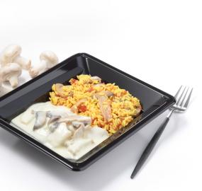 Blanquette de poisson riz tomates et champignons