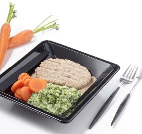 Haché au veau sauce au poivre purée de brocolis et carottes pauvre en sel