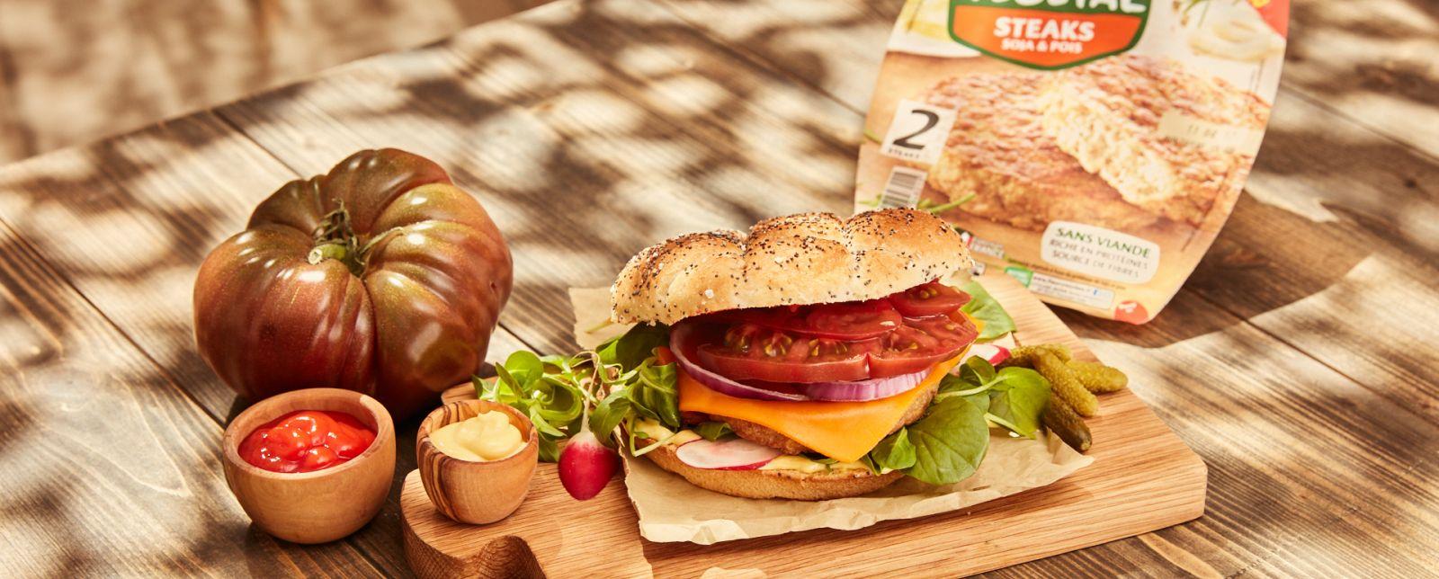 Burger avec steak végétal fleury michon